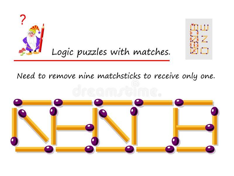 Jogo l?gico do enigma com f?sforos Precise de remover nove matchsticks para receber - somente um P?gina imprim?vel para o livro d ilustração royalty free