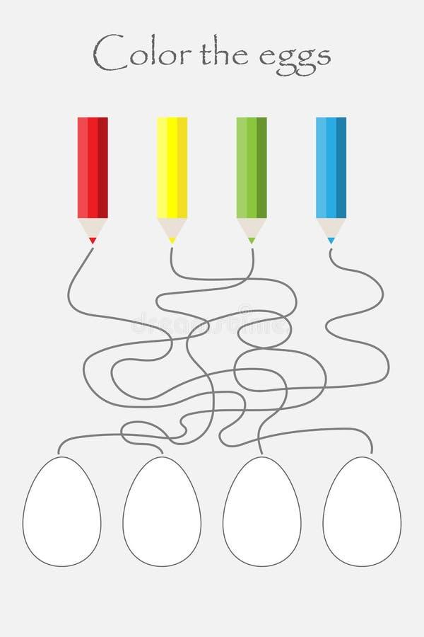 Jogo, labirinto e colorir do labirinto da Páscoa os ovos, atividade pré-escolar para crianças, tarefa da folha para o desenvolvim ilustração stock