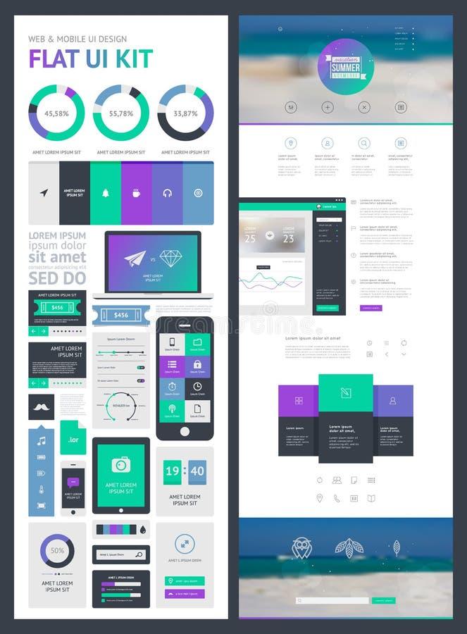 Jogo liso de UI para a Web e o móbil ilustração stock