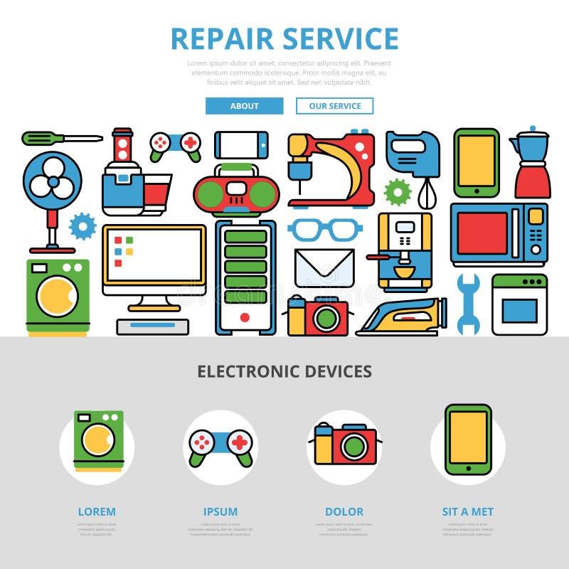 Jogo liso linear do infographics do serviço de reparações ilustração stock