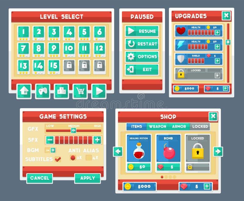 Jogo liso simples GUI Set ilustração do vetor