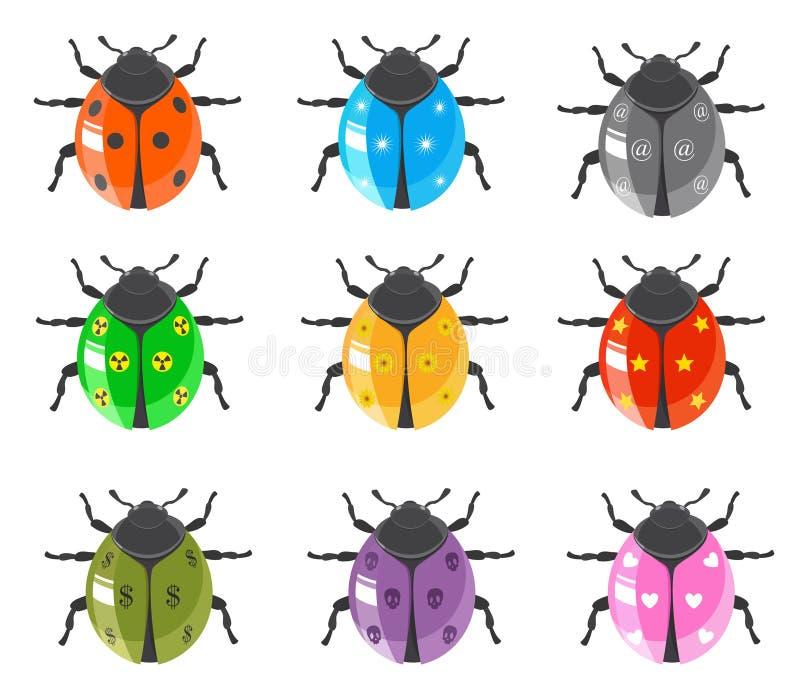Jogo lustroso do ícone do inseto do Ladybug ilustração do vetor