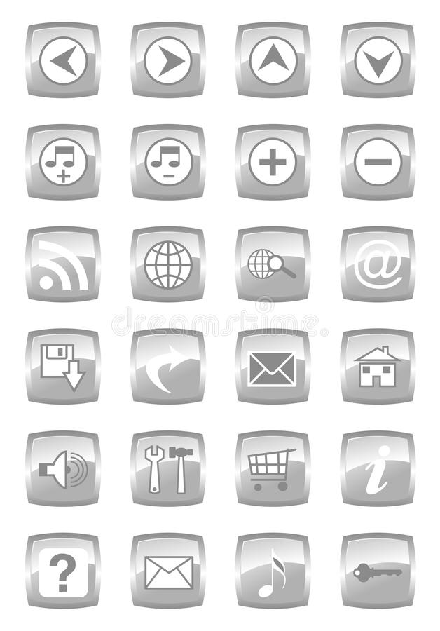 Jogo lustroso do ícone dos multimédios ilustração royalty free