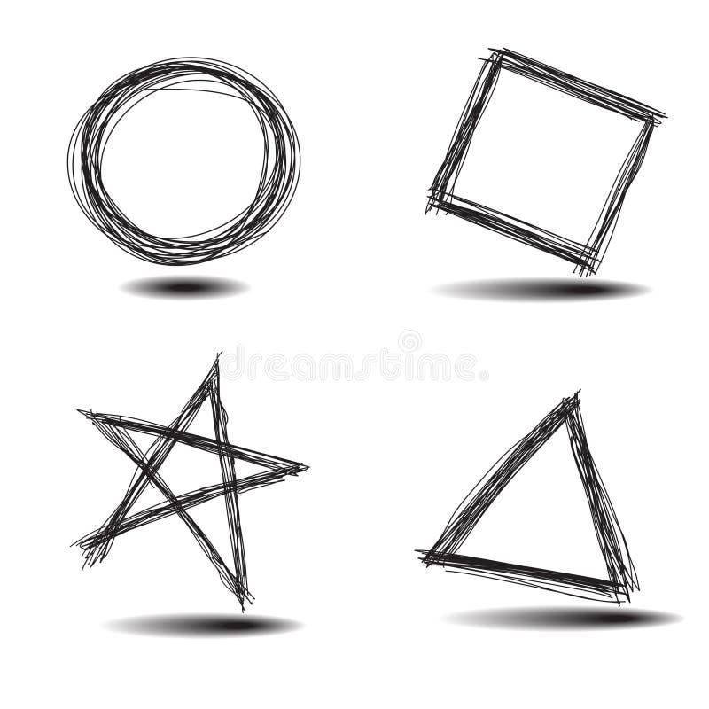 Jogo mão comum de formas desenhadas ilustração stock