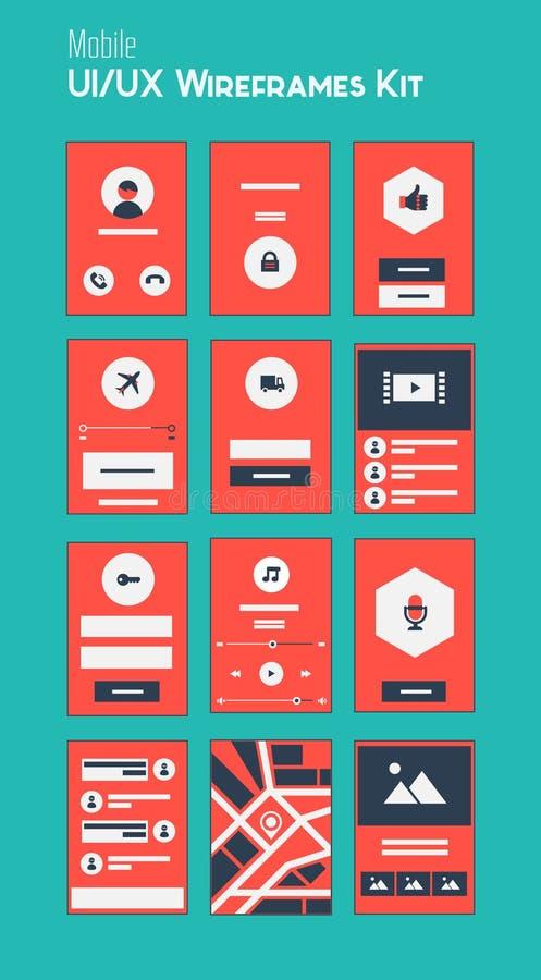Jogo móvel de UI e de UX Wireframes ilustração do vetor