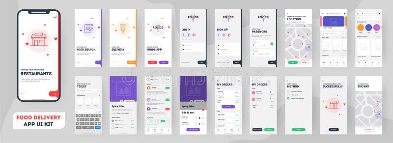Jogo móvel do ui do app da entrega do alimento que inclui o sinal acima, o menu do alimento, o registro e o serviço da casa ilustração stock