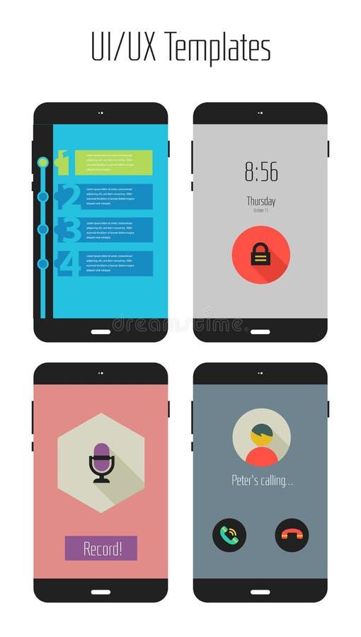 Jogo móvel liso dos apps de Ui ou de UX ilustração royalty free