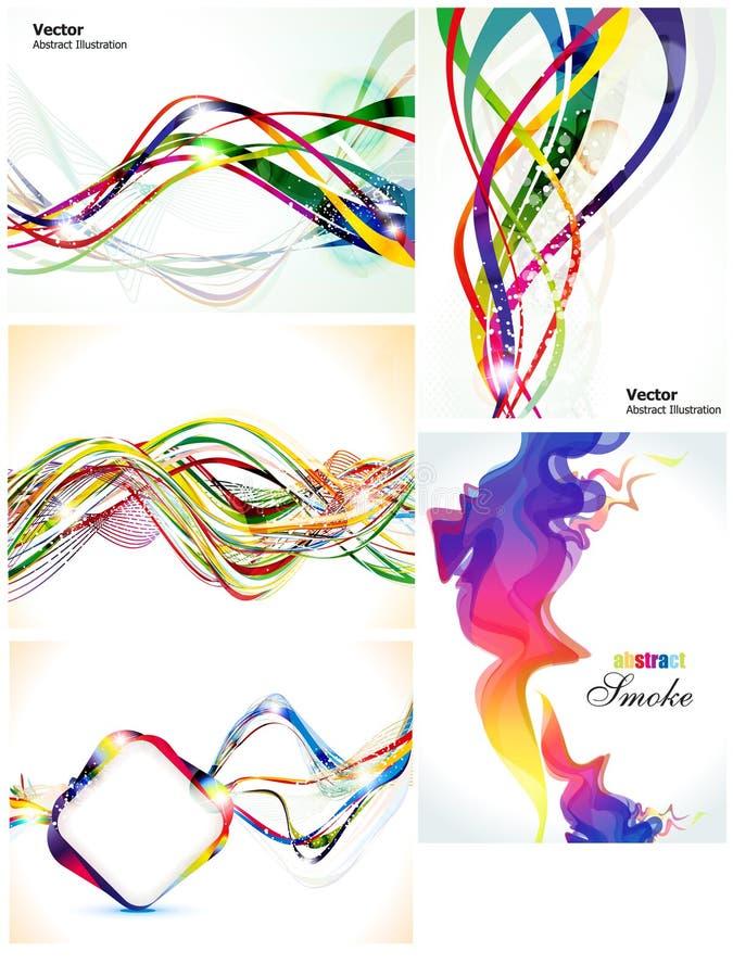 Jogo múltiplo colorido abstrato da onda ilustração do vetor
