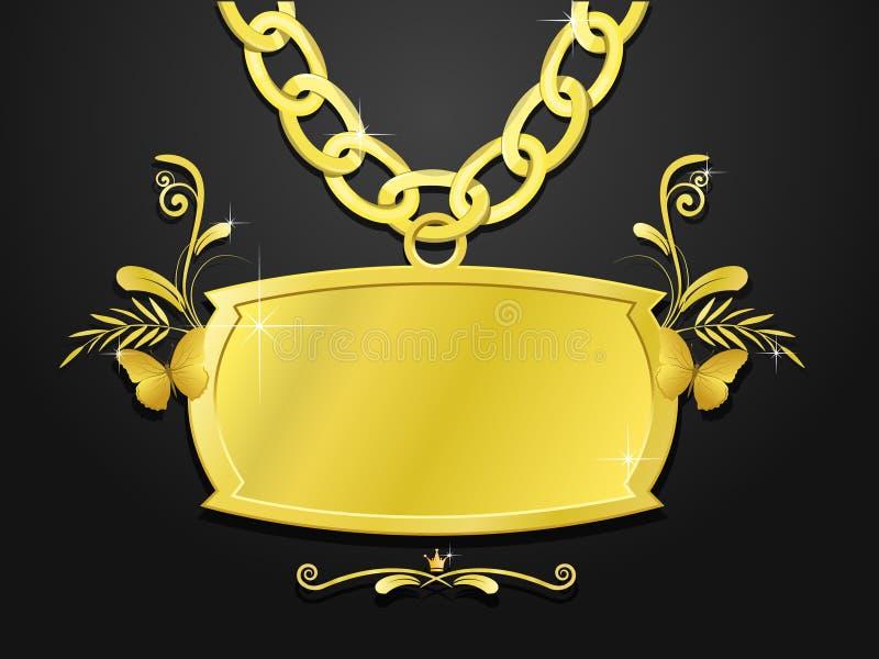 Jogo maciço do ouro do sinal e da corrente ilustração royalty free