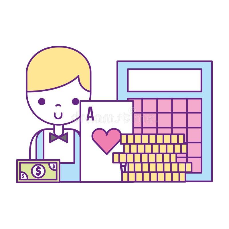 Jogo masculino do casino das moedas do cart?o do bingo do crouoier ilustração stock