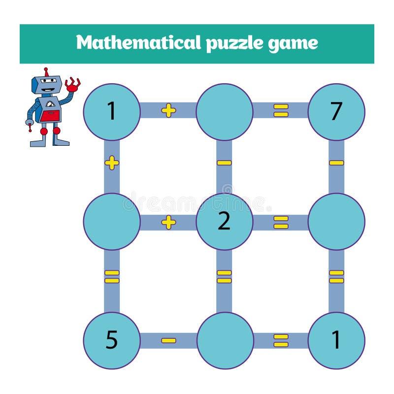 Jogo matemático do enigma Aprendendo a matemática, tarefas para a adição para crianças prées-escolar folha para crianças prées-es ilustração stock