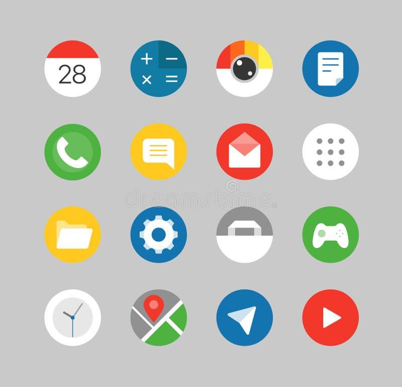 Jogo moderno do ui dos smartphones Ícones diferentes da aplicação ilustração do vetor