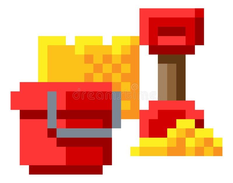 Jogo mordido Art Icon do pixel 8 do castelo de areia da pá da cubeta ilustração royalty free