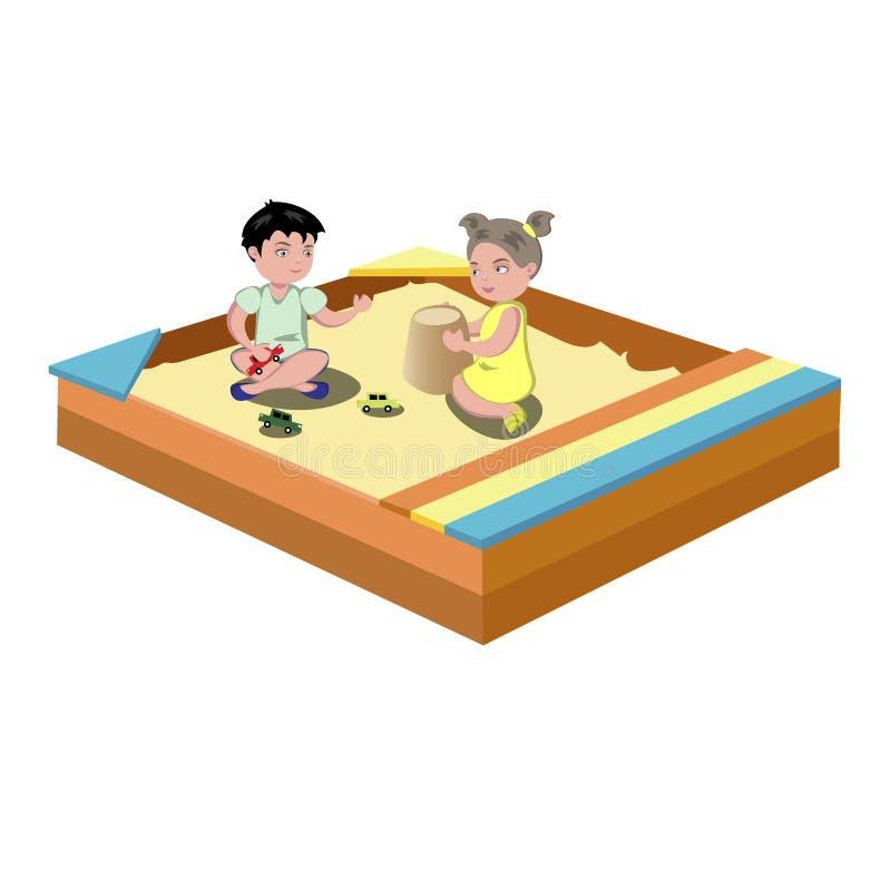 Jogo na caixa de areia ilustração royalty free