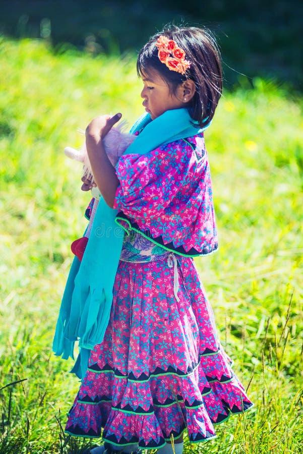 Jogo nativo nativo da menina com a boneca no vestido colorido tradicional na pastagem com bondade, México, América imagens de stock