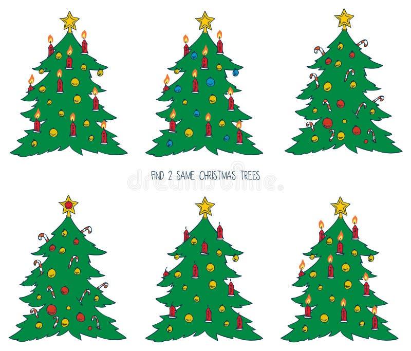 Jogo para crianças com árvores de Natal ilustração royalty free