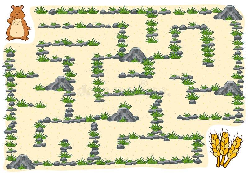 Jogo para crianças, hamster do labirinto ilustração royalty free
