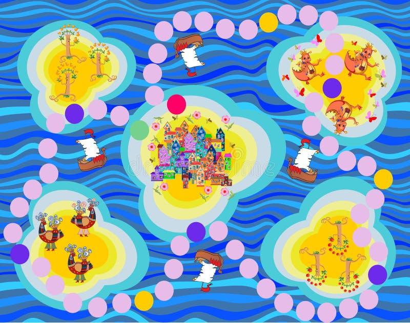 Jogo para crianças - viaje às ilhas da fantasia ilustração royalty free