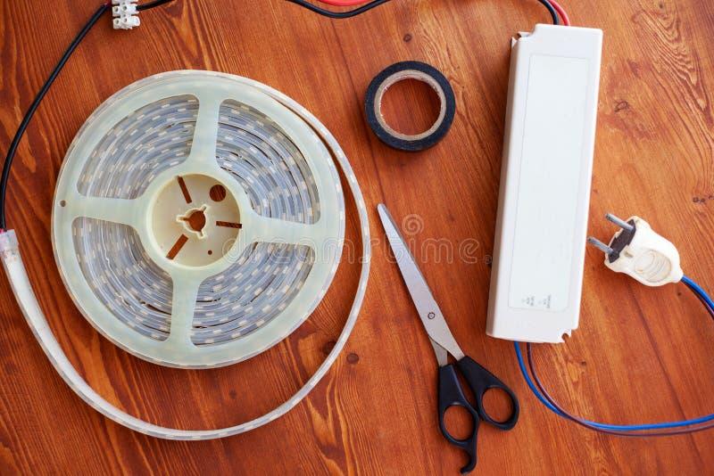 Jogo para montar a opinião superior da tira do diodo emissor de luz, configuração lisa imagens de stock