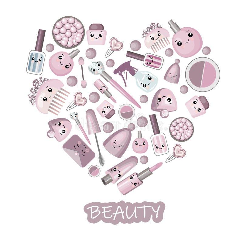 Jogo para o projeto de cosméticos naturais com testes padrões e logotipos sem emenda ilustração royalty free