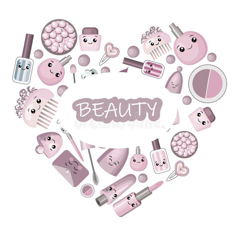 Jogo para o projeto de cosméticos naturais com testes padrões e logotipos sem emenda ilustração do vetor