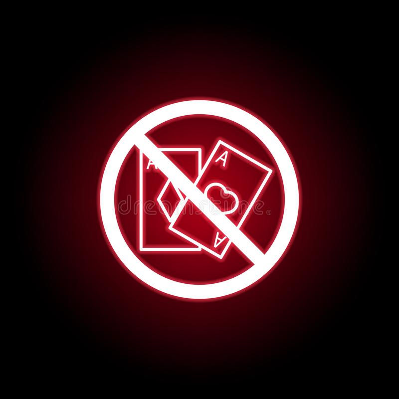 Jogo proibido, ícone do cartão no estilo de néon vermelho Pode ser usado para a Web, logotipo, app m?vel, UI, UX ilustração do vetor