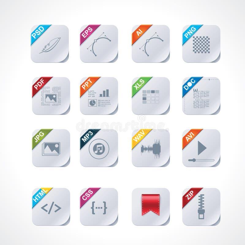 Jogo quadrado simples do ícone das etiquetas de arquivo