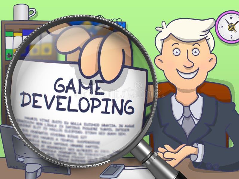 Jogo que torna-se através da lente de aumento Projeto da garatuja ilustração do vetor