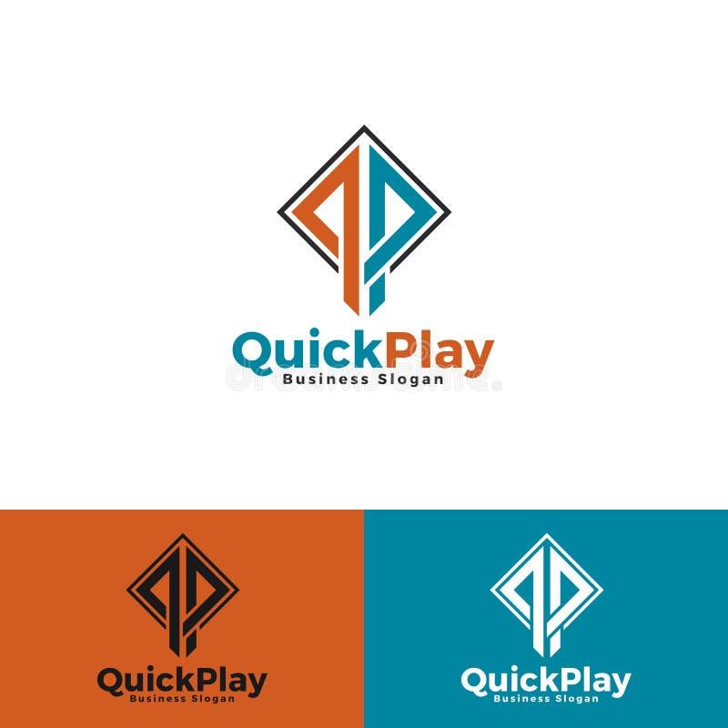 Jogo rápido - letra à moda Q & P com conceito quadrado ilustração stock