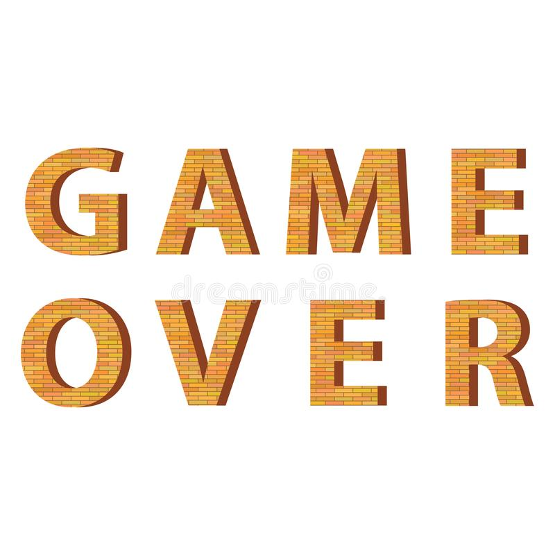Jogo retro do pixel sobre o sinal Conceito do jogo Tela do jogo de v?deo ilustração do vetor