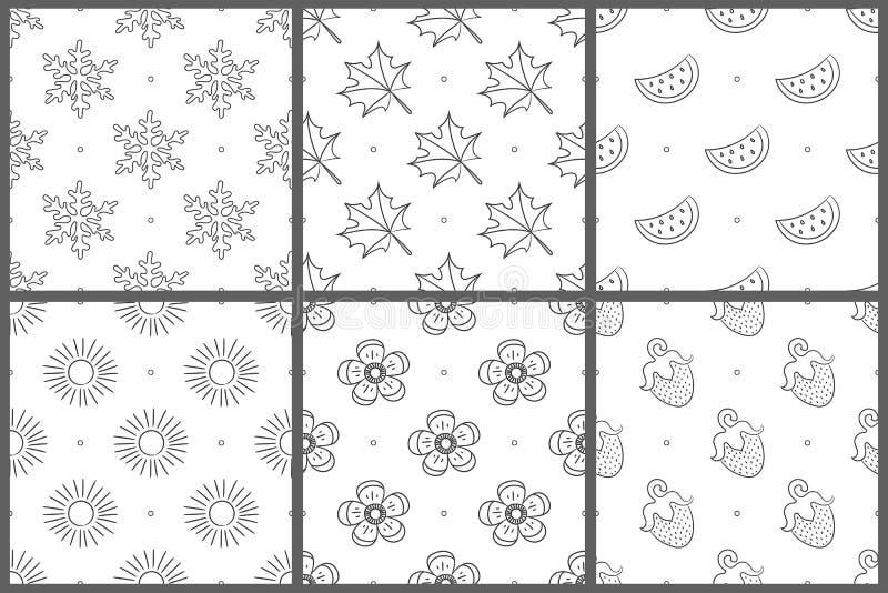 Jogo sem emenda do teste padrão Fundo branco e preto do vetor Floco de neve, folha, flor, melancia; fruto; baga; morango; sol ilustração do vetor
