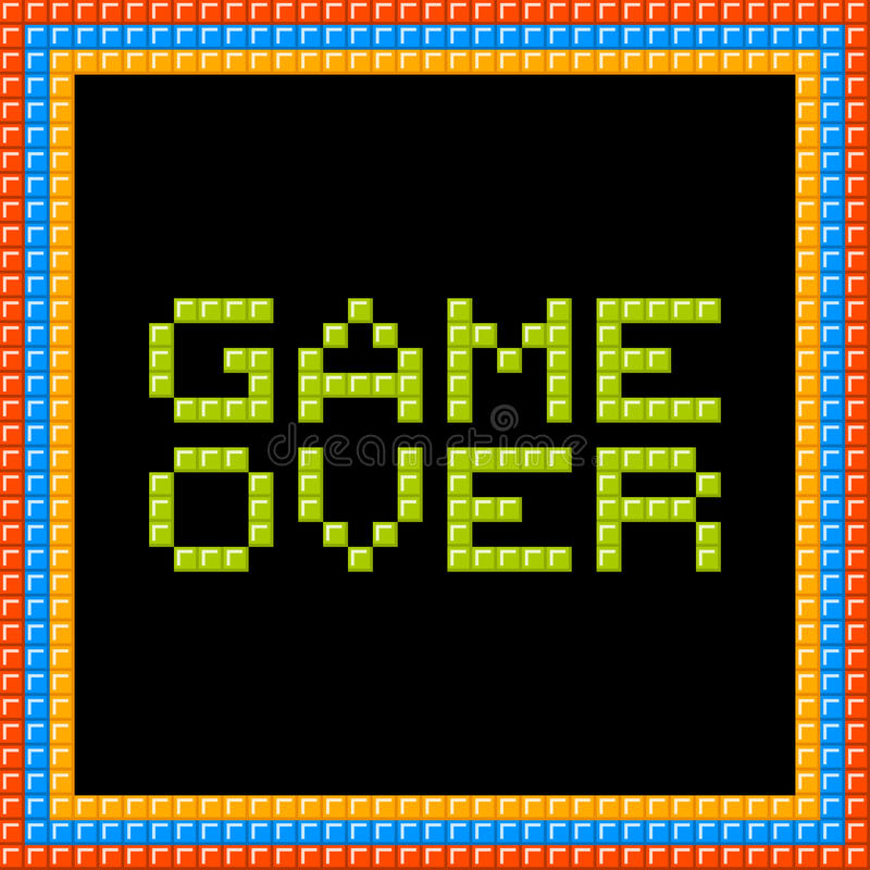 Jogo sobre a mensagem escrita em blocos do pixel ilustração do vetor