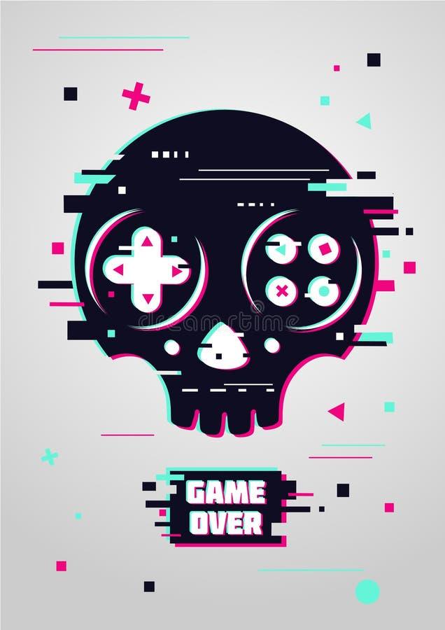 Jogo sobre o sinal glitchy com crânio e gamepad Símbolo do jogo de vídeo Cartaz do Gamer ilustração stock