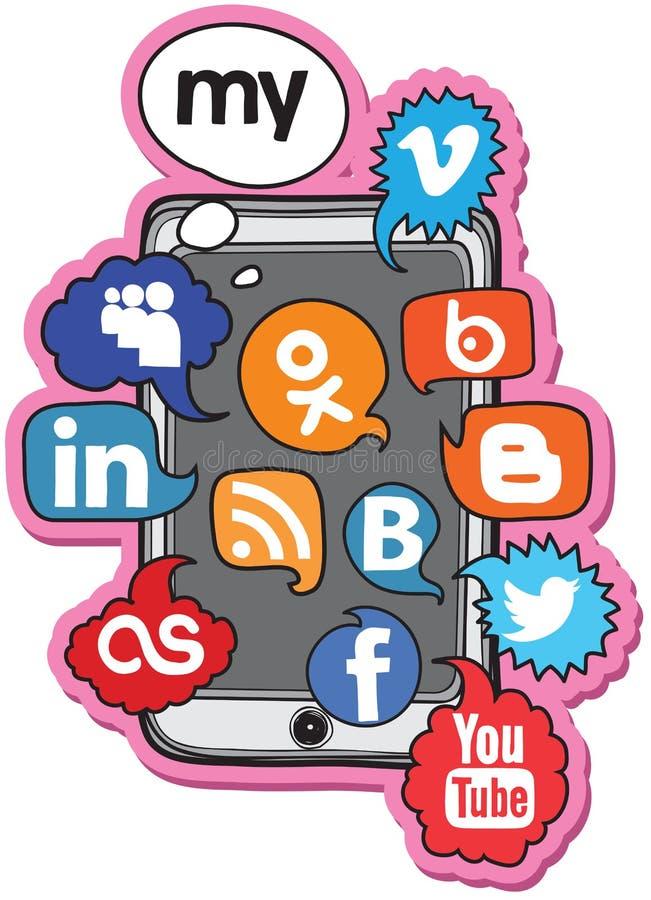 Jogo social da voz do logotipo ilustração stock