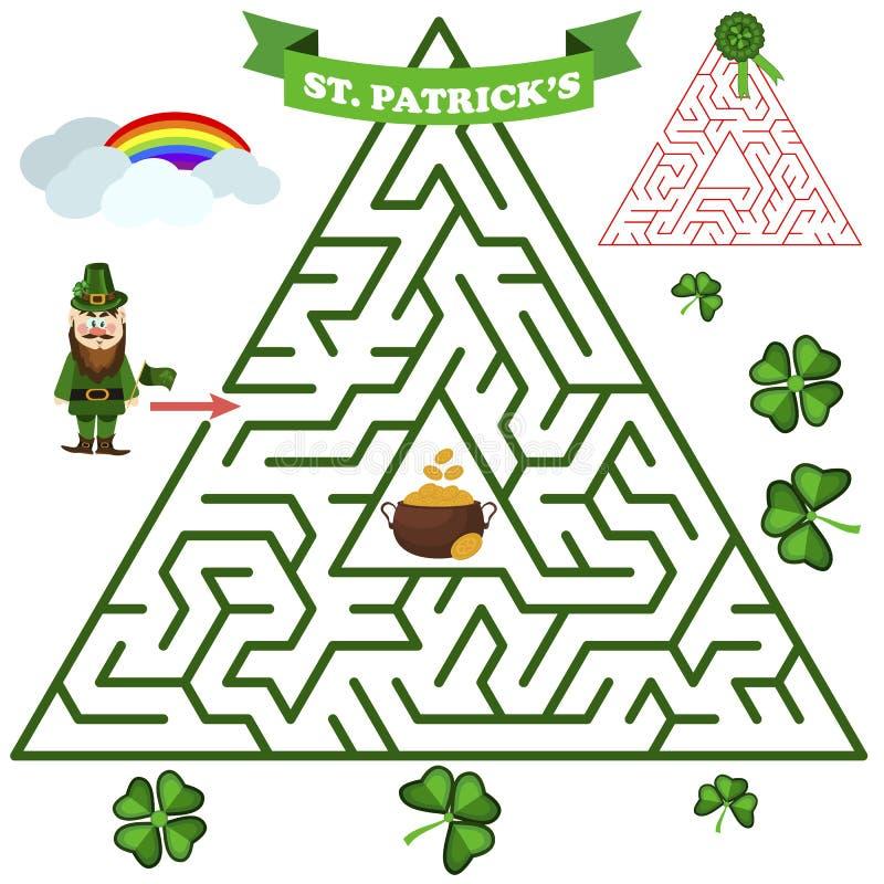 Jogo triangular do crivo do labirinto ou do labirinto Jogo das palavras do labirinto para a ilustração do vetor das crianças ilustração royalty free