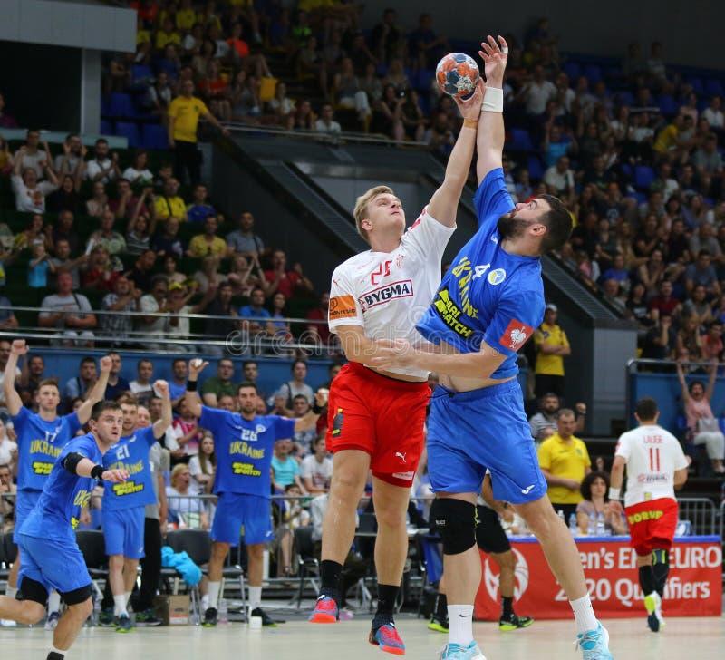 Jogo Ucrânia v Dinamarca do handball dos qualificadores do EURO 2020 do EHF foto de stock