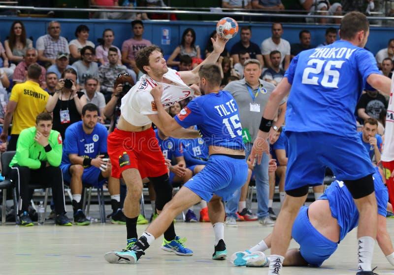 Jogo Ucrânia v Dinamarca do handball dos qualificadores do EURO 2020 do EHF fotografia de stock