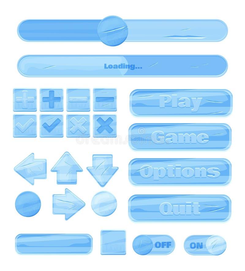 Jogo universal do gelo UI do inverno para projetar aplicações responsivas do jogo e jogos onlines móveis, Web site, apps móveis e ilustração royalty free
