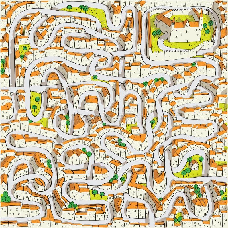 Jogo velho do labirinto da cidade ilustração stock