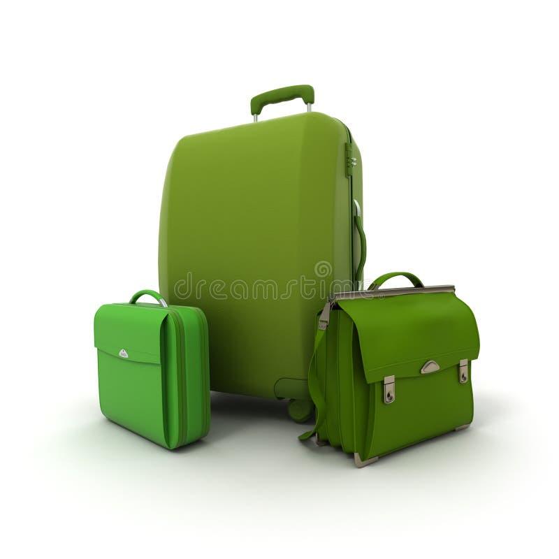 Jogo verde da bagagem ilustração stock