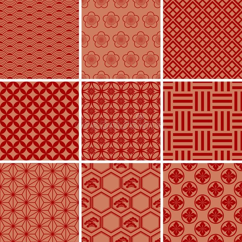 Jogo vermelho tradicional japonês do teste padrão ilustração royalty free