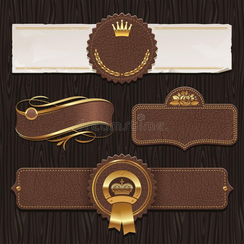 Jogo vintage de couro de etiquetas quadro ilustração royalty free