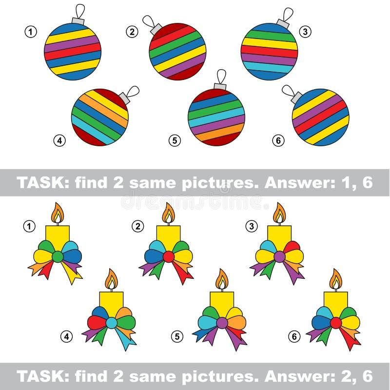 Jogo visual Encontre pares escondidos de vela e da bola de vidro ilustração stock