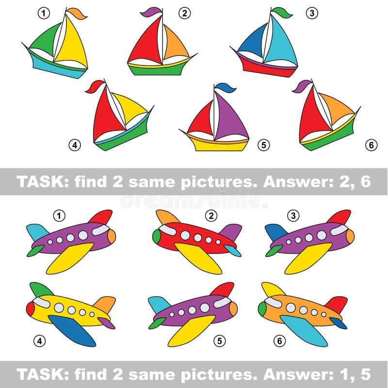 Jogo visual Pares escondidos achado de barco e de plano ilustração do vetor