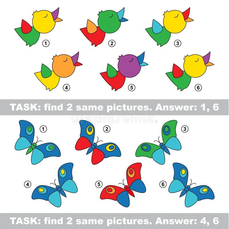 Jogo visual Pares escondidos achado de pássaro e de borboleta ilustração royalty free