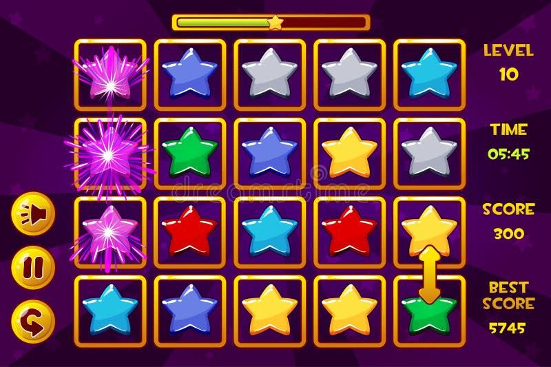 Jogos da ESTRELA Match3 da relação Estrelas coloridos, ícones dos ativos do jogo e botões ilustração stock