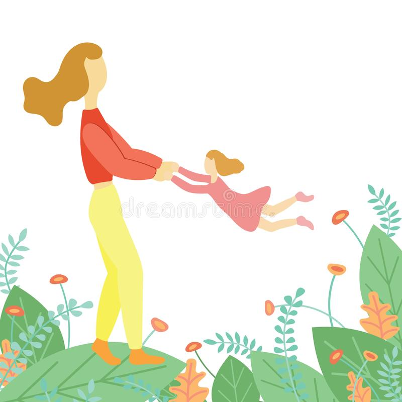 Jogos da mãe com sua filha do bebê ilustração do vetor