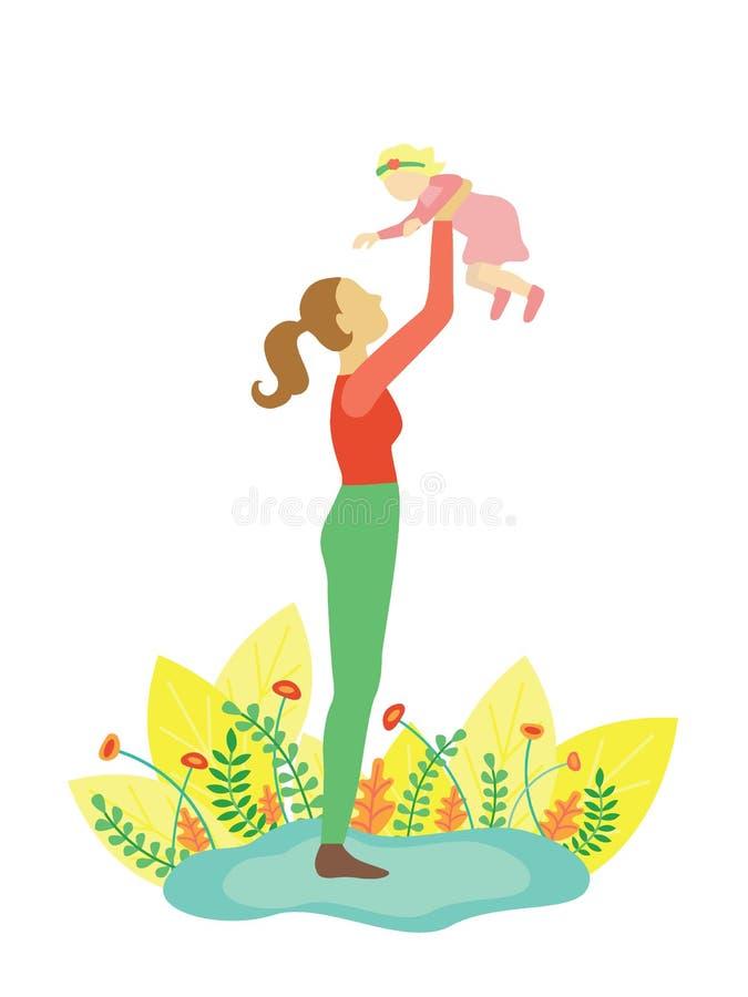 Jogos da mãe com sua filha do bebê ilustração royalty free