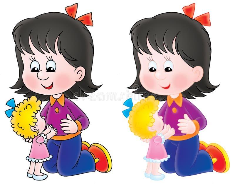 Jogos da menina com uma boneca ilustração royalty free