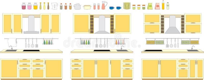 Jogos da mobília da cozinha ilustração do vetor